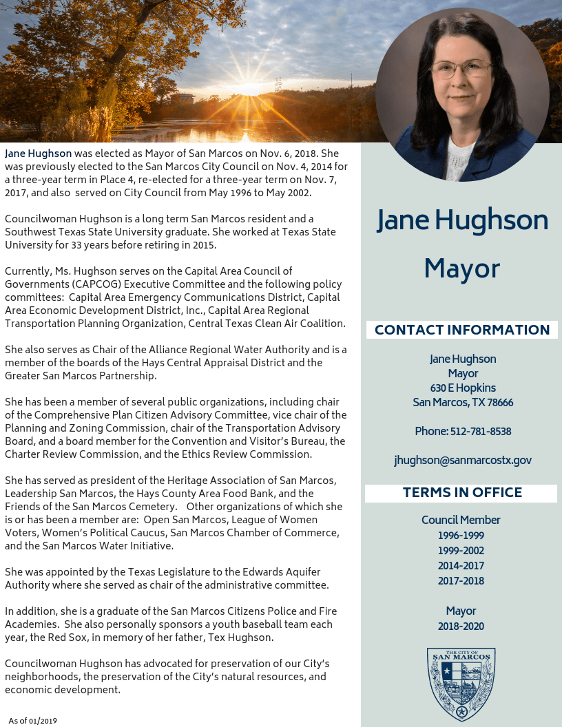 Jane Hughson's Biography Sheet
