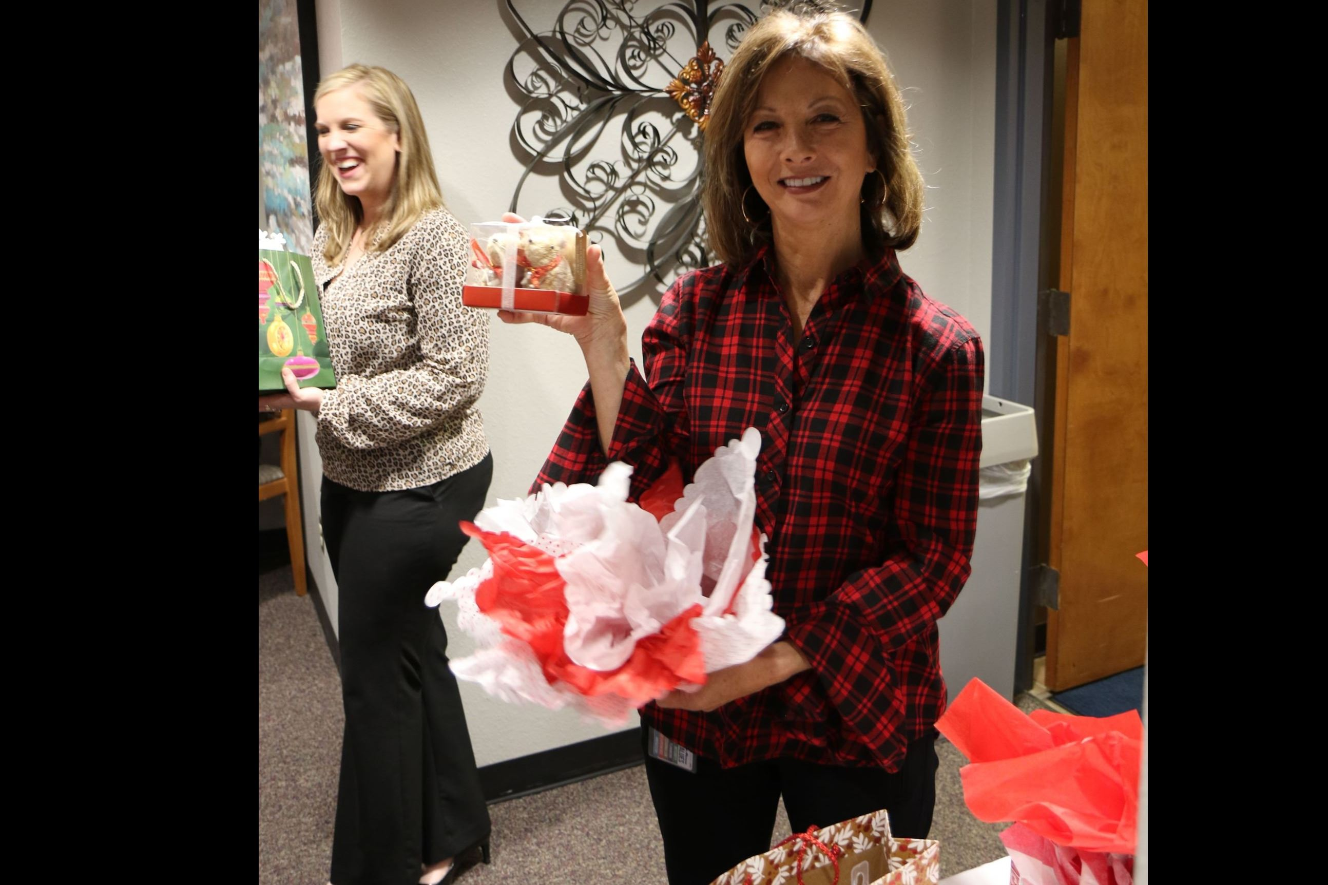 City Hall staff enjoying Christmas potluck