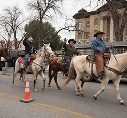 People riding horses in a parade