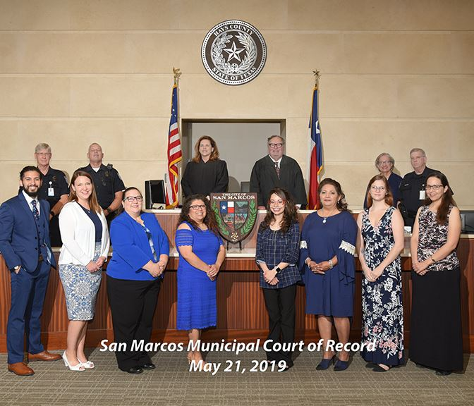 Photo of entire City of San Marcos Municipal Court staff including judges, clerks, and warrant offic