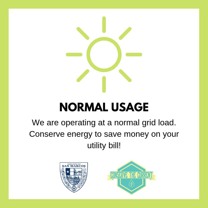 We are at normal usage, thank you for conserving!