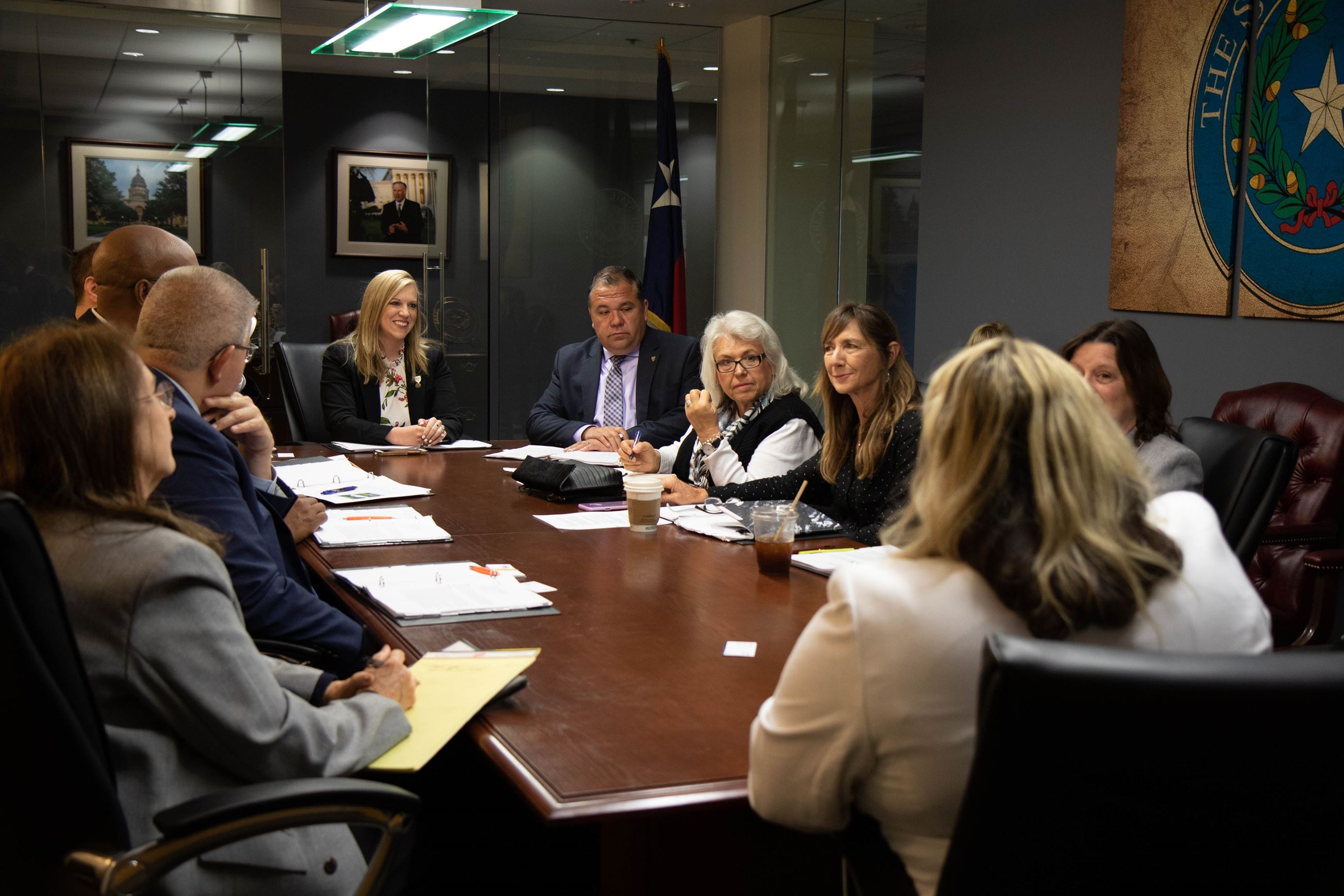 City Staff and Council Members meet in a conference room in Washington D.C.