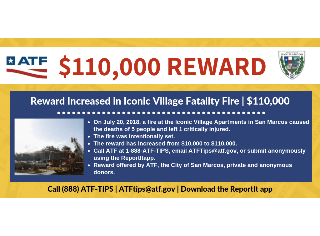 Graphic detailing new reward of $110,000 offered for information leading to the arrest of the person
