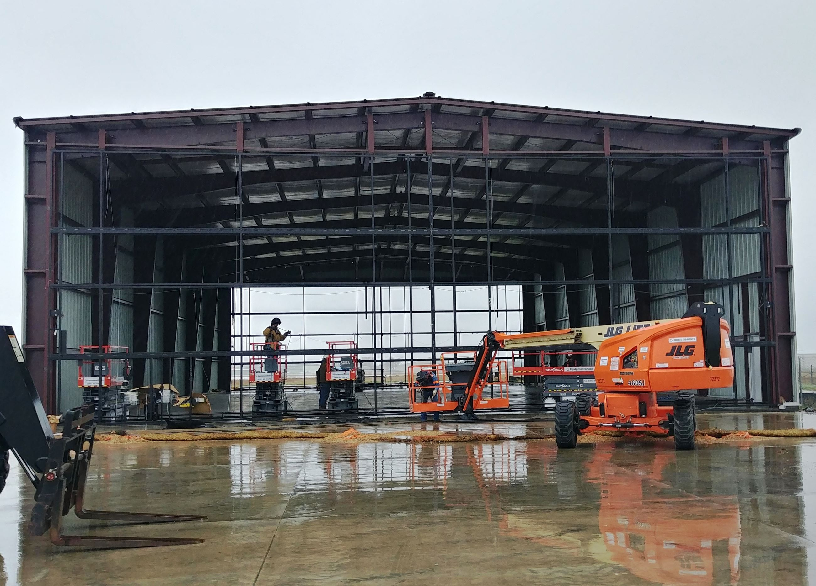 Interior construction work of airport hanger