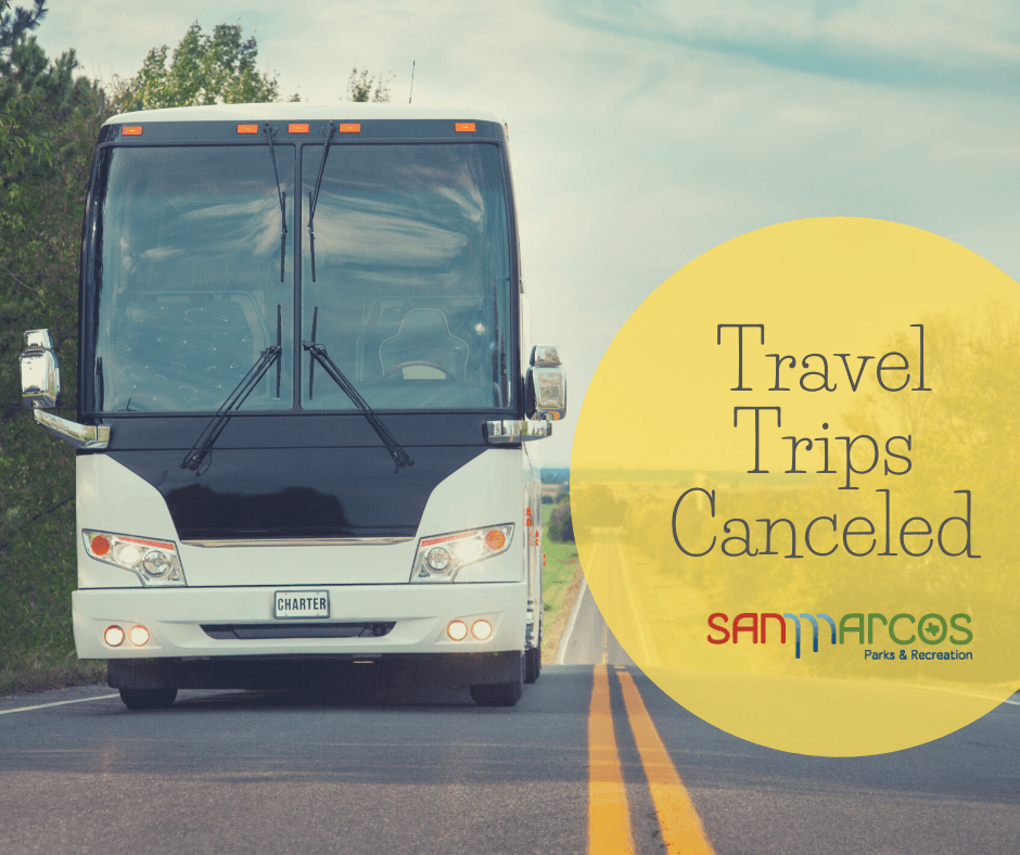 Photo of a bus on the road with text that reads &#34Travel Trips Cancelled&#34