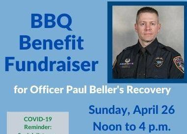 Benefit flier with details about the event and a photo of Officer Beller