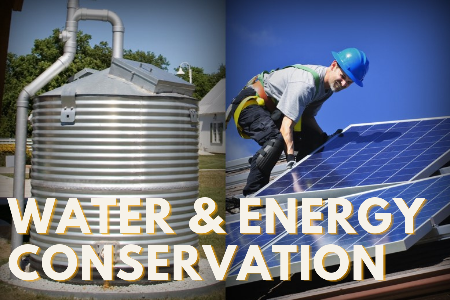 WATER ENERGY CONSERVATION text over image of water tank on the left and solar panels on the right