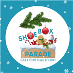 shoebox parade logo on blue and white background