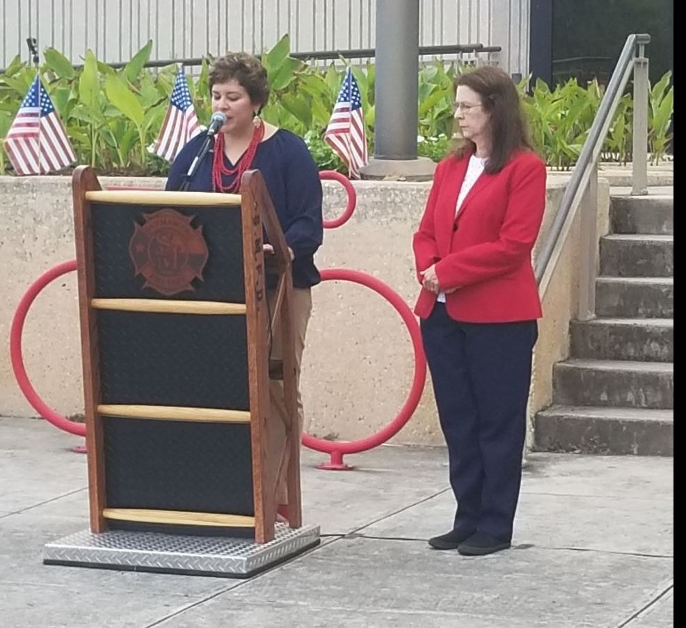 Interim Asst City Manager Stephanie Reyes and Mayor Jane Hughson speak at 9/11 Ceremony