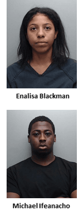 Mugshots of Enalisa Blackman and Michael Ifeanacho