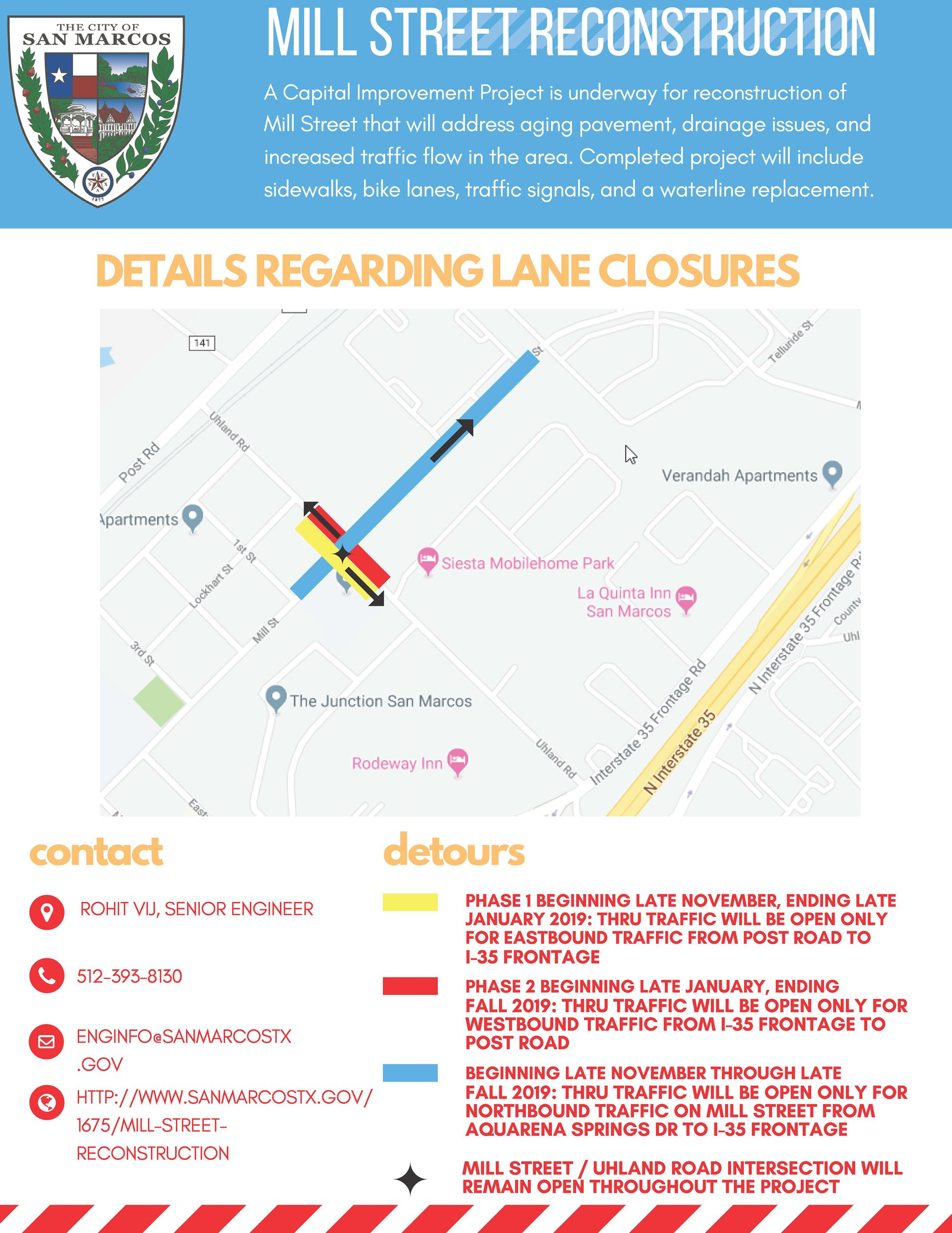 Mill Street CIP project Lane Closures and Detours