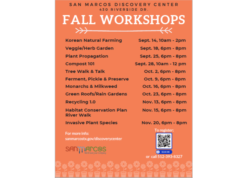 Fall Workshop Schedule Graphic