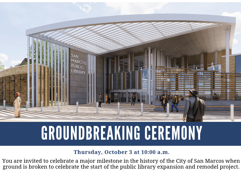 Library Groundbreaking Ceremony Graphic with details of event