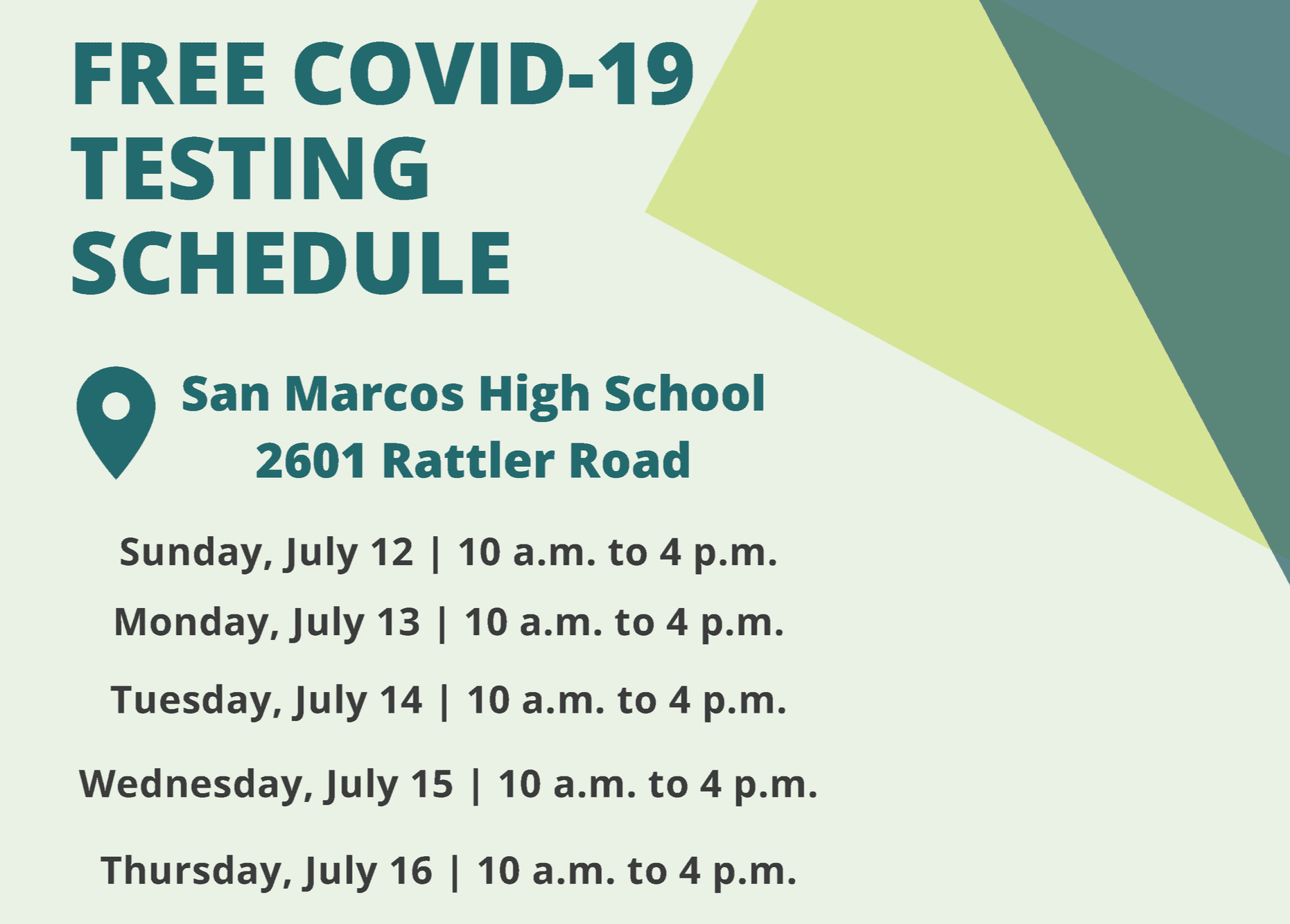 COVID-19 Testing Schedule for Hays County Graphic