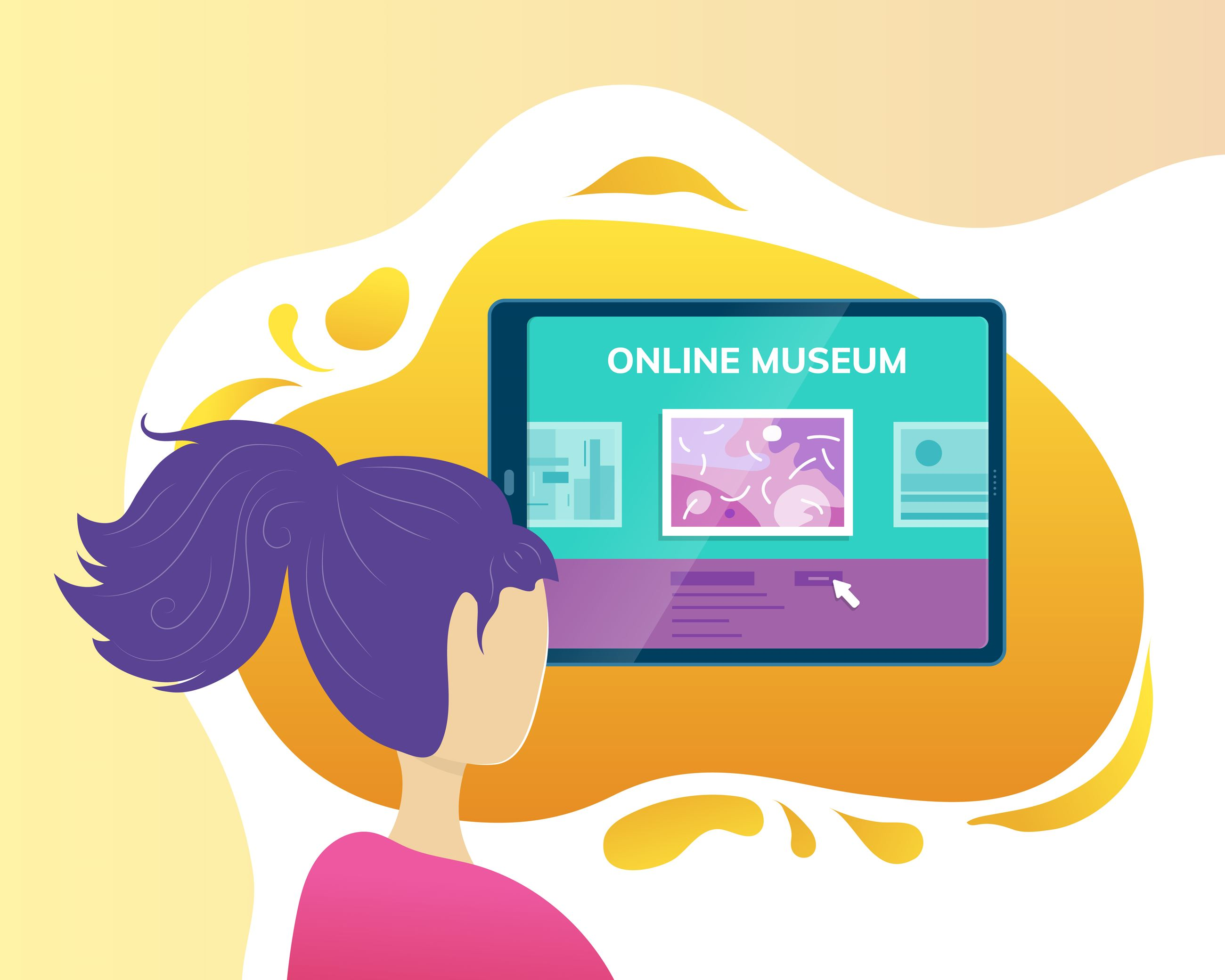 Picture of girl looking at a computer screen that say's online museum.