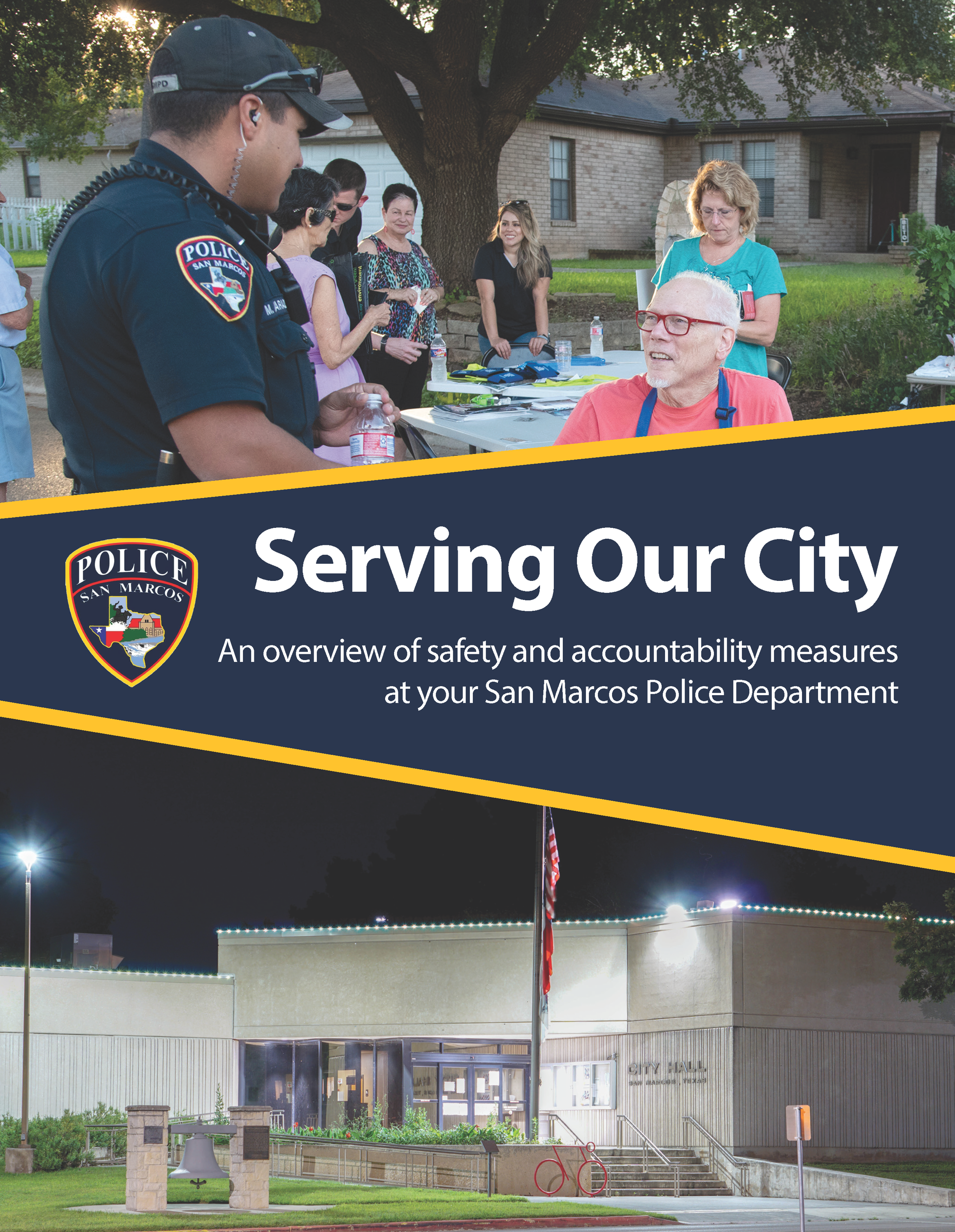 front page of a brochure stating Serving Our City An overview of safety and accountability measures
