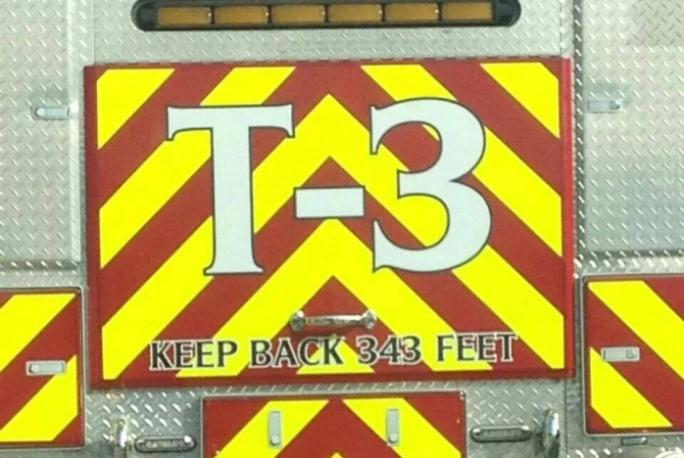 Keep Back 343 Feet Sign