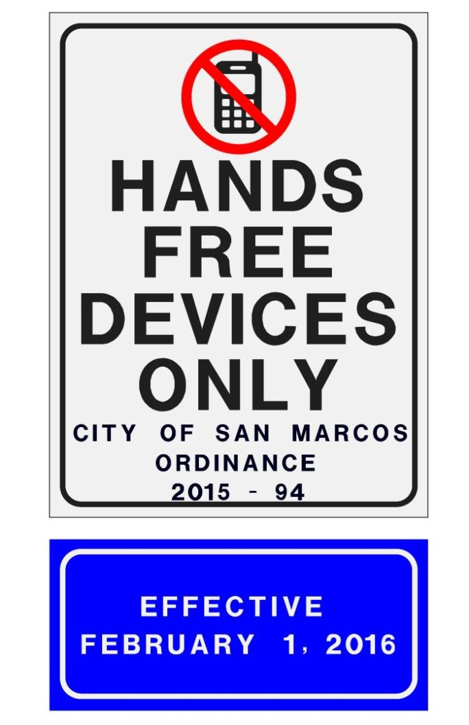 Hands Free Devices Only Sign